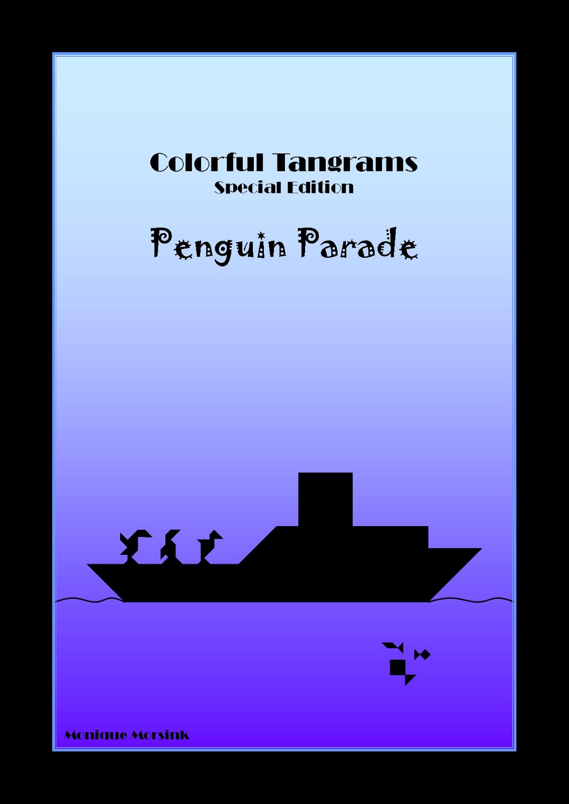 Colorful Tangrams Penguin Parade