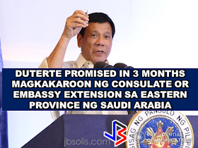President Duterte's visit to Saudi Arabia has brought  a brand new hope for the OFWs working at the  Eastern Province. For a very long time, the burden of travelling a long way just to reach the embassy in Riyadh will finally come to an end. President rodrigo Duterte has promised to give them a Consulate or Phil Embassy Extension Office in three months. An OFW will have to travel 400 kilometers from Al Khobar to Riyadh to reach the embassy which cost them time and money. If they could have their own consulate as promised by the president, it will make the lives of OFWs in the Eastern Region easier. The president's concern about the OFWs has always been a highlight as he speak in front of the Filipino communities abroad. The President reiterated that he will make everything easy for the OFWs. A separate Department for the OFWs and Seafarers are on the way, even the pRC Licensure examination will be brought within their reach through DOLE Secretary Silvestre Bello III. Recommended: WATCH THE FULL REPLAY : PRESIDENT DUTERTE IN SAUDI ARABIA