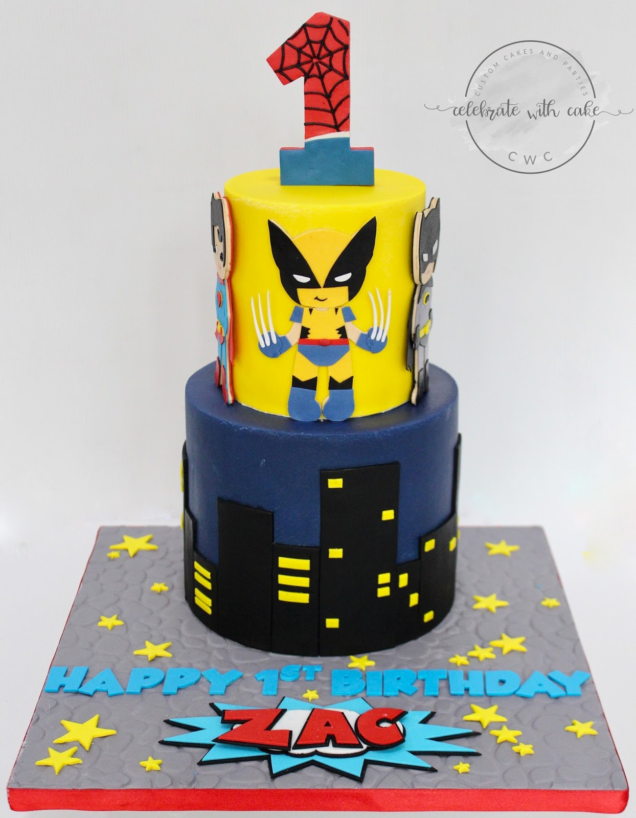 Cool Celebrate With Cake Superheros Featuring Wolverine 2 Tiers Cake Personalised Birthday Cards Veneteletsinfo