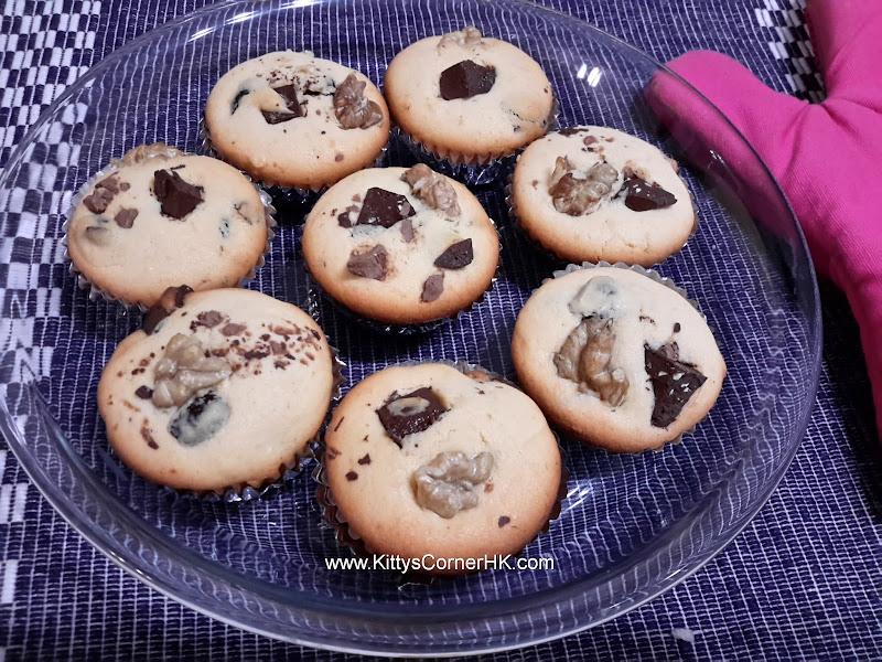 Walnut dried fruit choco muffin DIY recipe 核桃乾果朱古力鬆餅自家食譜