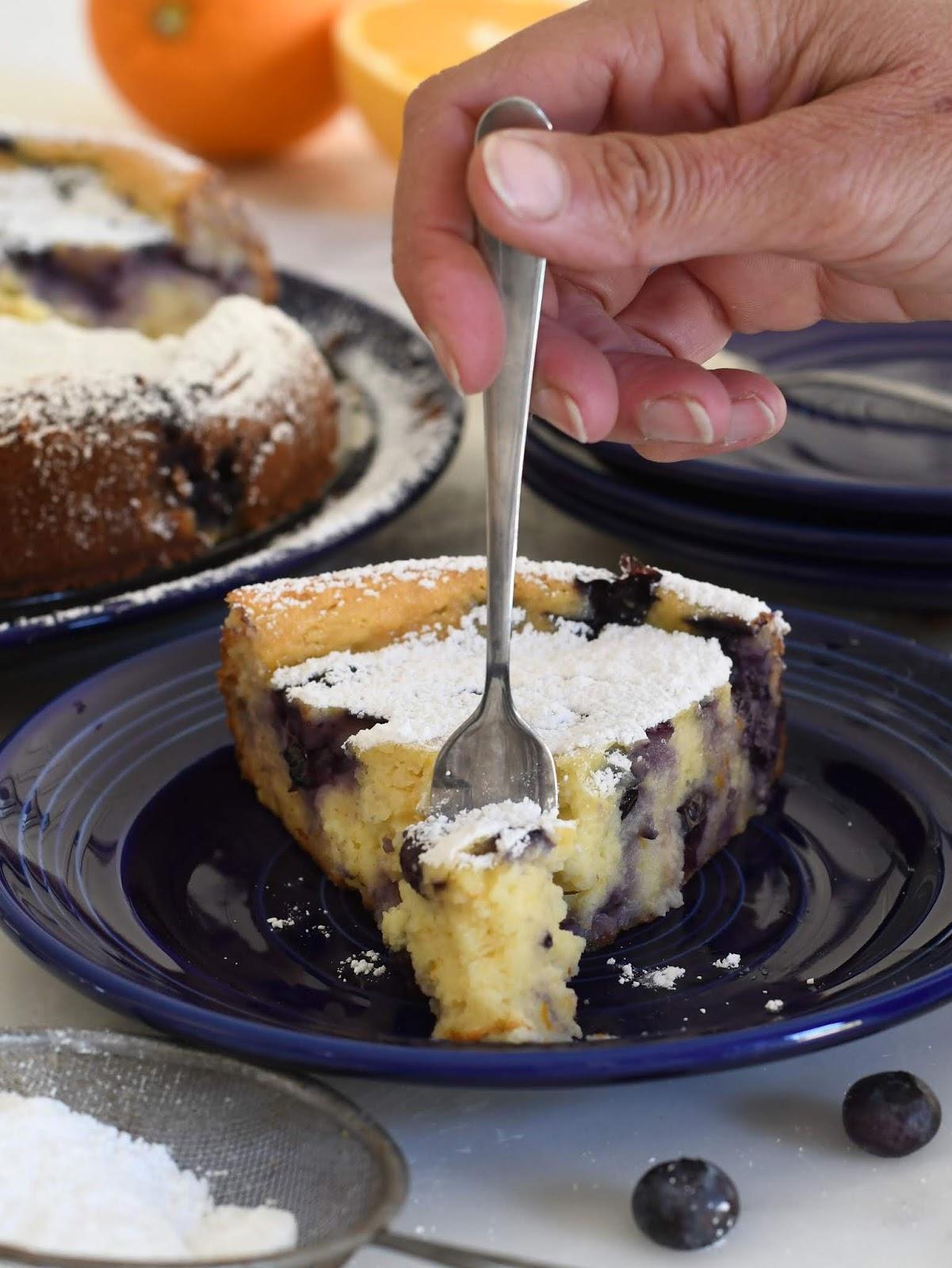Italian Ricotta Cheese Cake with Blueberries