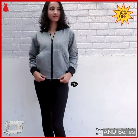 AND356 Jaket Wanita Crop Bomber Grey BMGShop