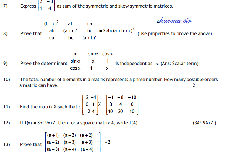 Matrices and determinate,important  question for matrix,square matrix,inverse matrix,