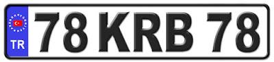 Karabük il isminin kısaltma harflerinden oluşan 78 KRB 78 kodlu Karabük plaka örneği