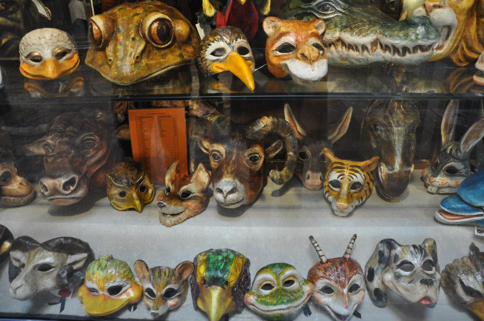 Window display of a shop for masks, Venice