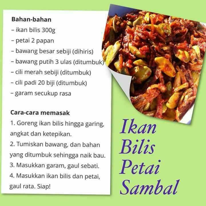 resepi ikan bilis sambal petai