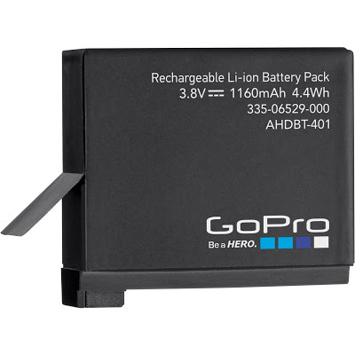 GoPro HERO 5 Black dibekali dengan baterai Li-ion 1160 mAh
