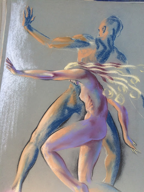 Quirk Artist  Pastel Two figures Adam and Eve