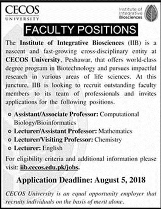 Jobs in CECOS University July 2018
