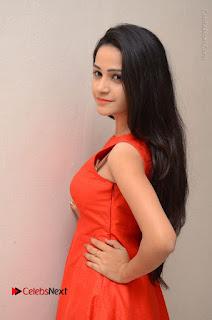 Telugu Actress Divya Nandini Stills in Orange Sleeveless Gown at Chennai Chaitrama Movie le Launch Event  0061.JPG