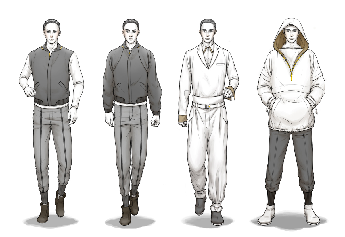 Clothing sketches templates men