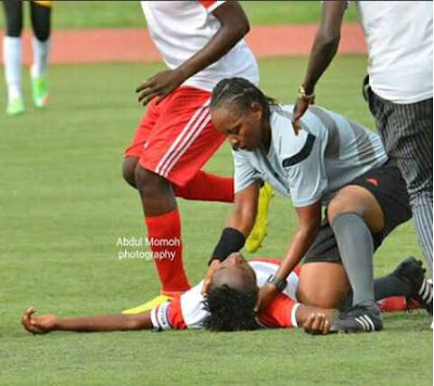 Nigerian Female Referee Saves Footballer From Death During Match