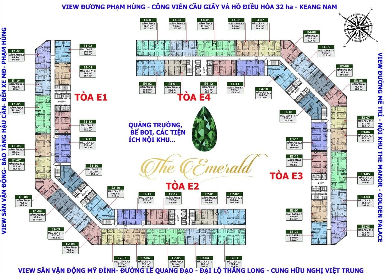 Mặt bằng tổng thể căn hộ The Emerald Mỹ Đình