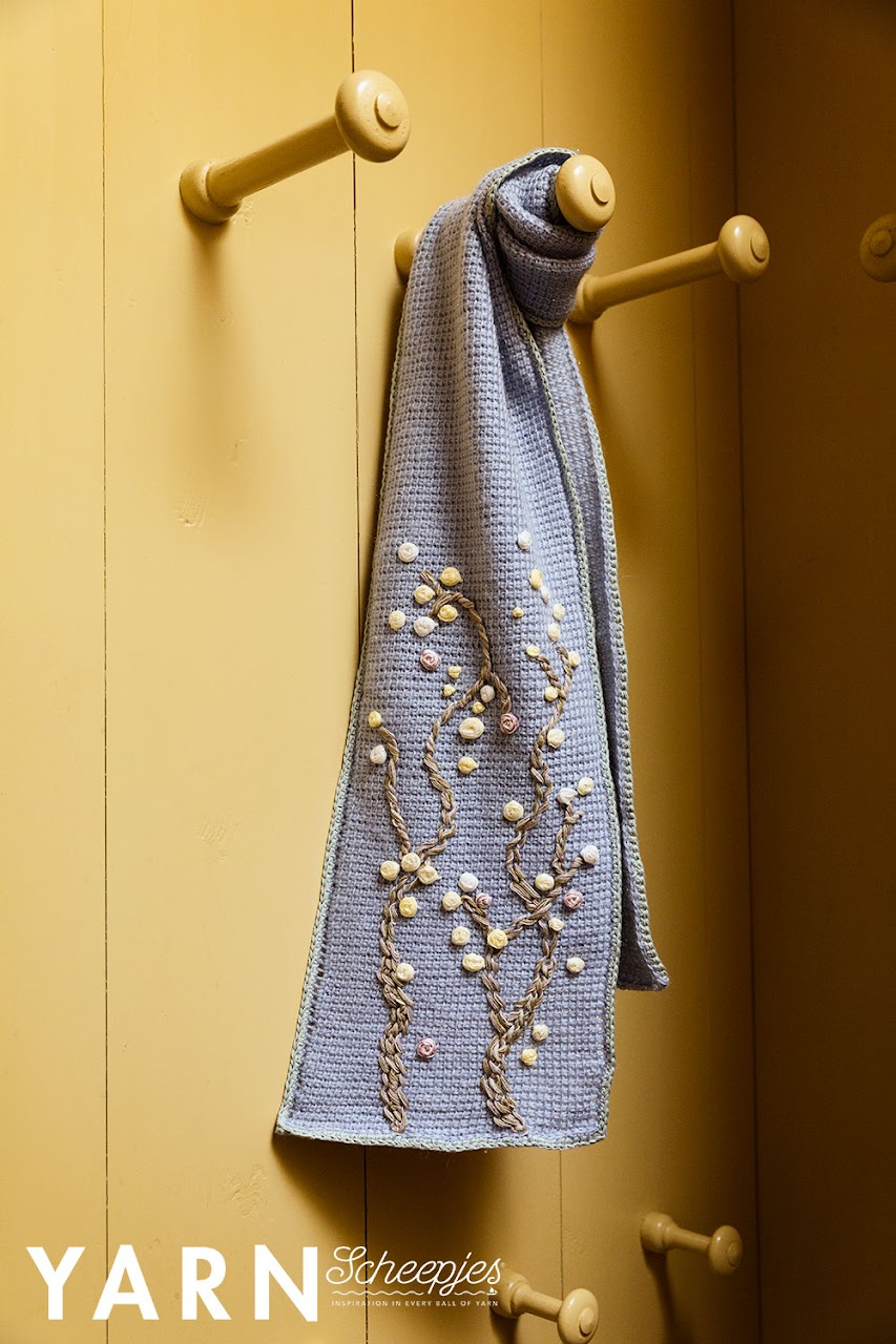 Almond Blossom Scarf_crochet design with embroidery. By Miss Neriss