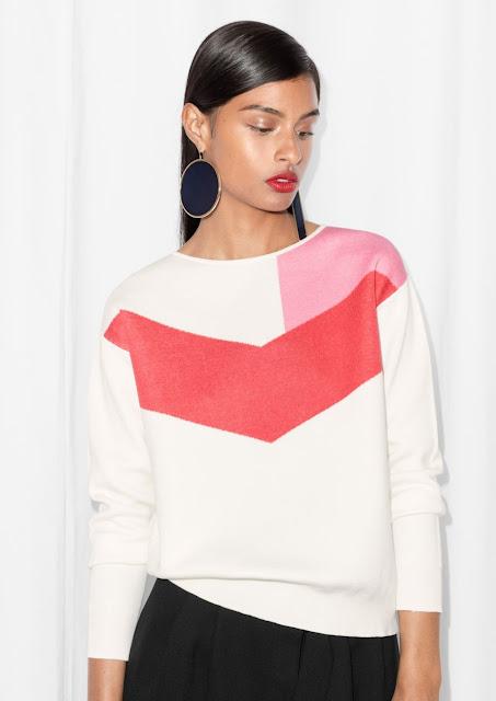 red pink white chevron sweater, stories chevron jumper, stories block colour jumper,