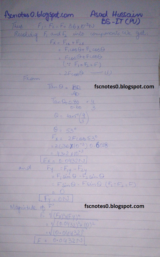 F.Sc ICS Notes: Physics XII: Chapter 12 Electrostatics Numerical Problems by Asad Hussain 2