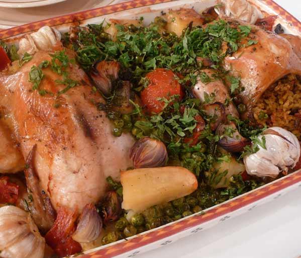 الدجاج المحشي مع الخضراوات