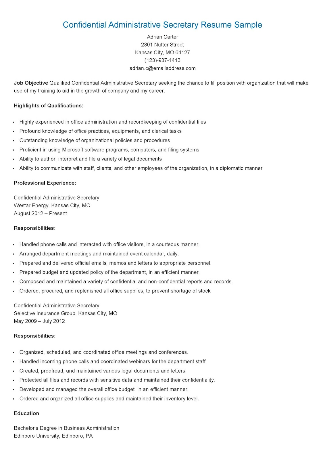 Resume Sample For Secretary Resume Samples Confidential Administrative Secretary
