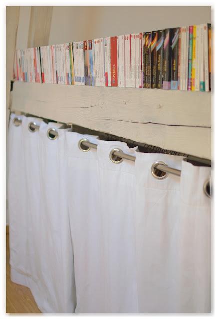 bibliothèque poutres dressing rideaux