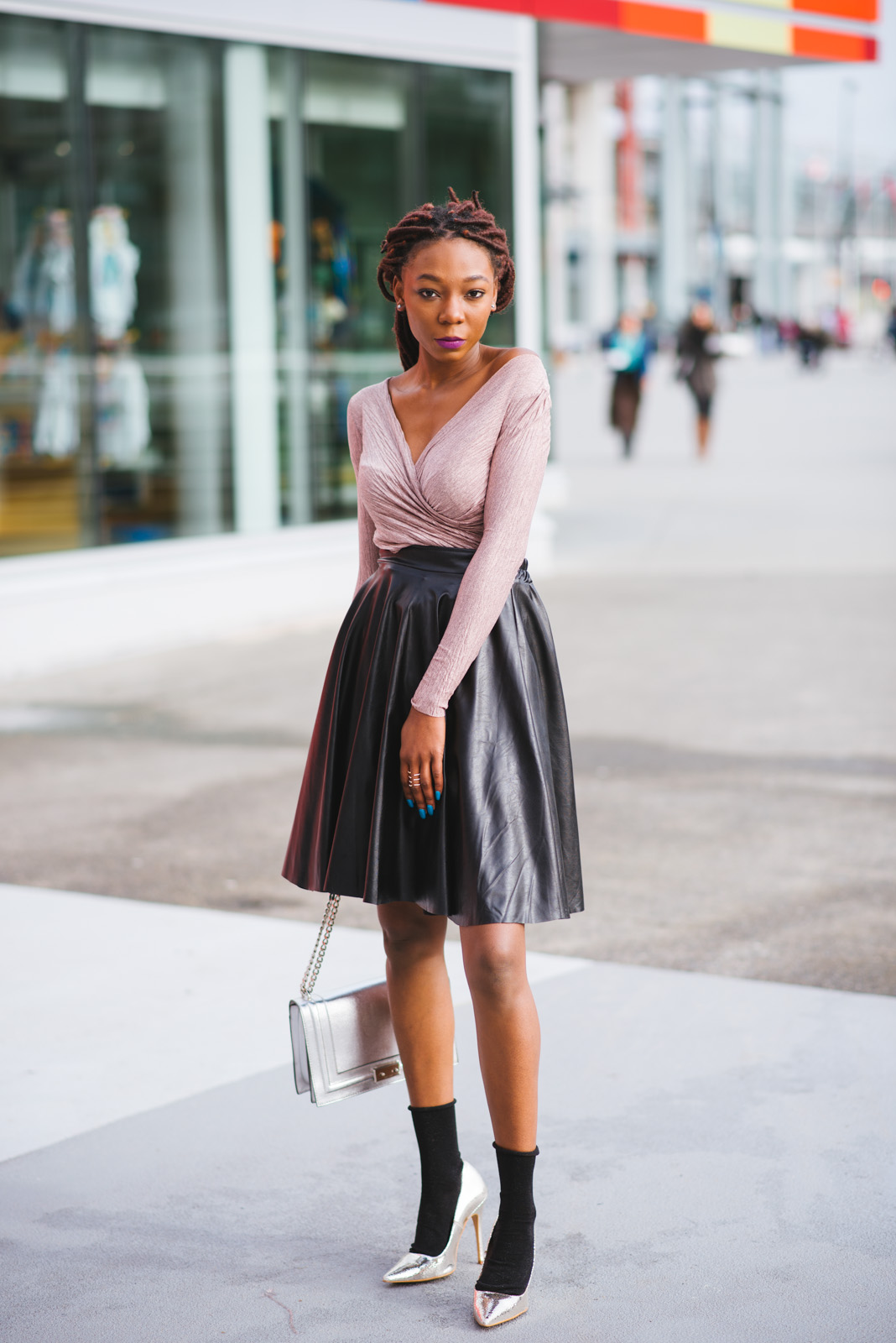 Leather outfits, skirts, pastels