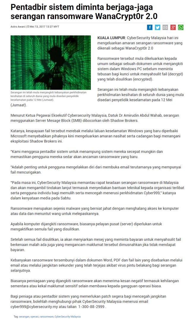 Amaran Dan Nasihat Mengenai Ancaman Serangan Siber Ransomware 'Wannacry'