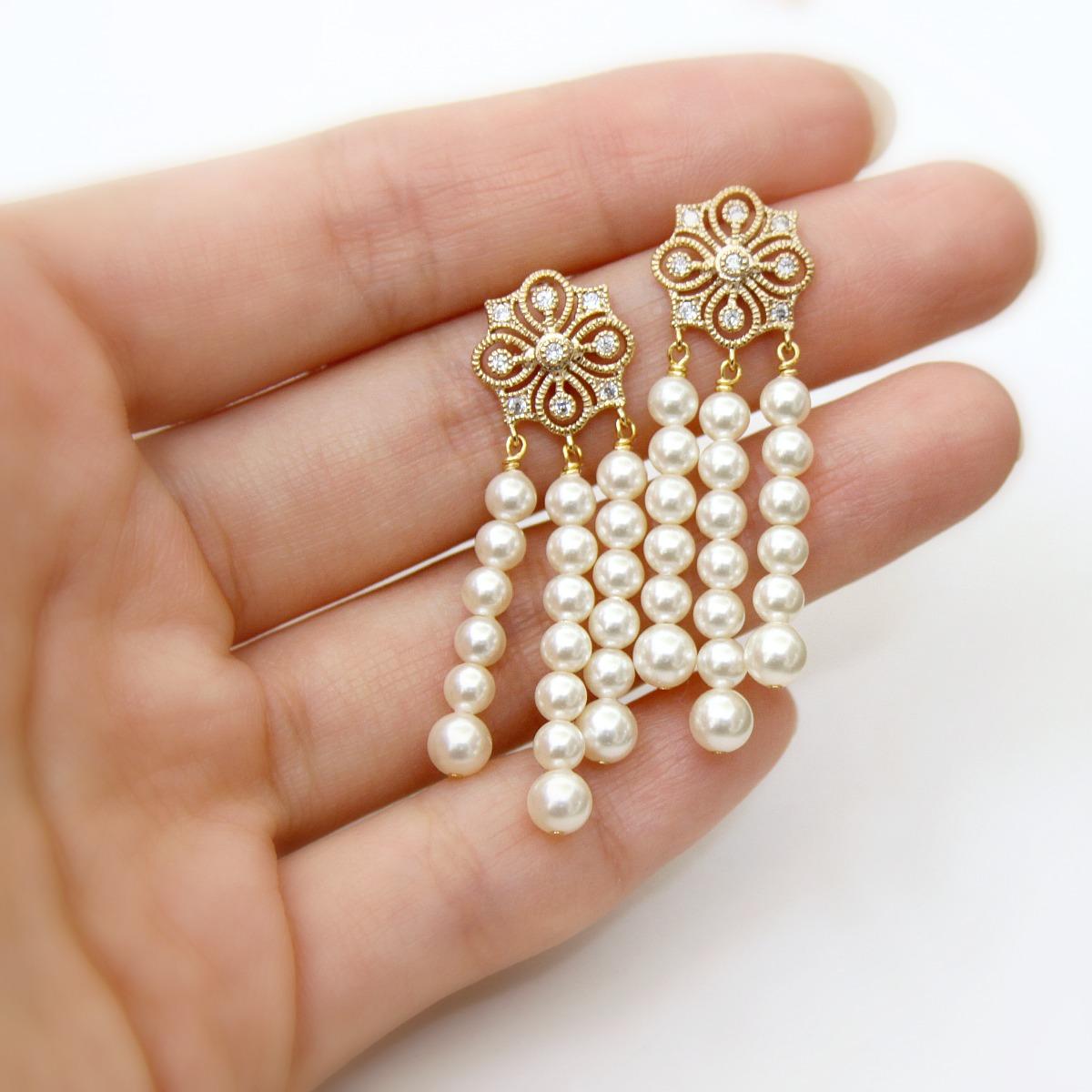 80fbde0b1d Jewel Me Love: Daisy Earrings. Great Gatsby Inspired Pearl Jewelry