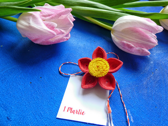 Martisoare Handmade Brosa Floare Iasomie Circul Magic Quilling