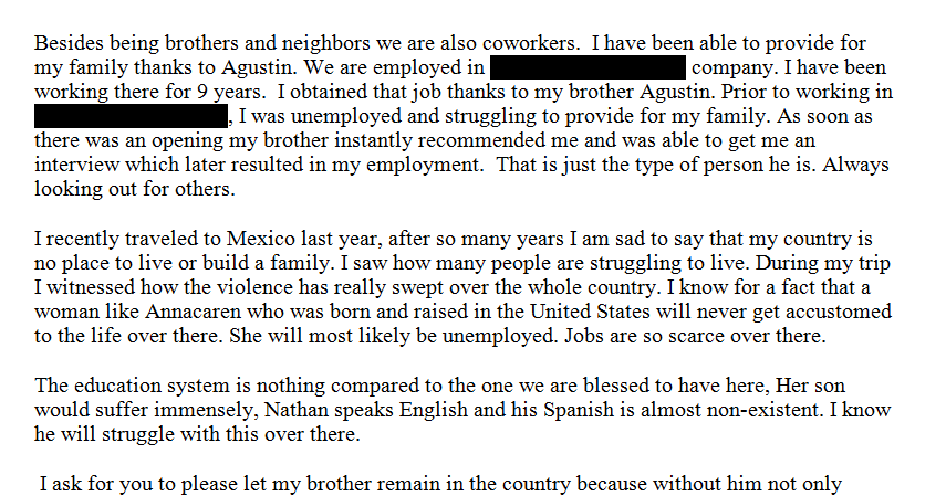 a letter to my brother in law immigration 601a harship letter examples 27481 | Mario%2Bletter