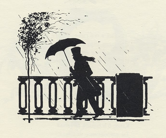 profile silhouette of man walking in windy rain with umbrella