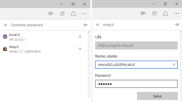 Password salvate su Microsoft Edge