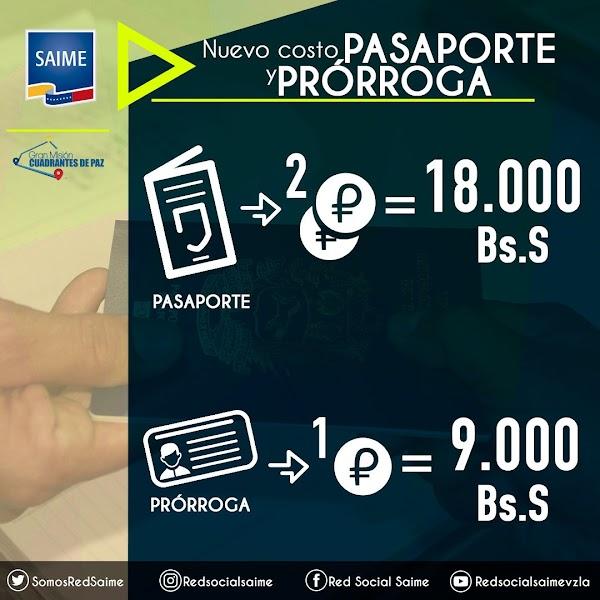 Nuevo costo de pasaporte y prórroga