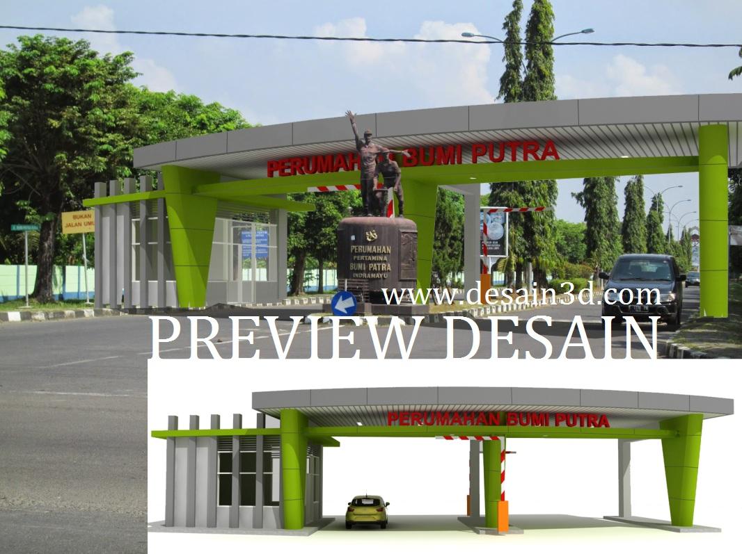 JASA INTERIOR EKSTERIOR 3D Renovasi Desain Gambar Gerbang Perumahan Gate Depan Belakang Gapura