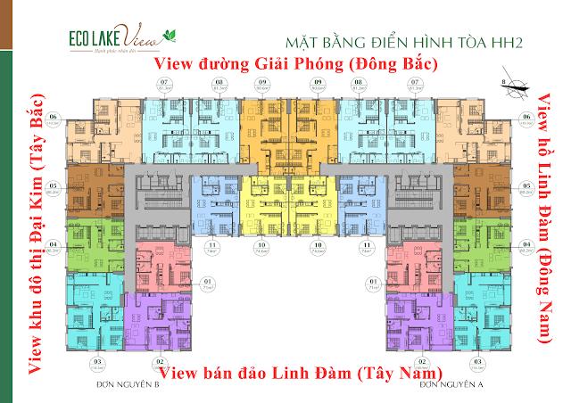 Mặt bằng thiết kế tầng căn hộ điển hình tòa HH2 Eco Lake View