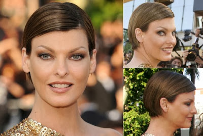 Linda Evangelista short haircut with bangs