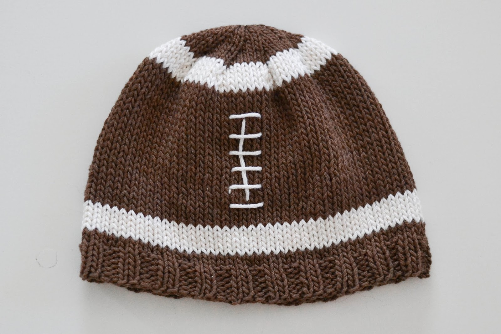 Little and Lovely Knit Football Hat Pattern