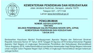 Penerimaan CPNS 2018 Kemendikbud