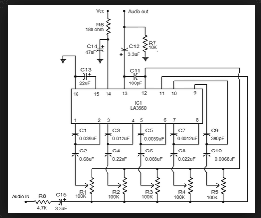 Wiring Schematic Diagram: LA3600 5 Band Graphic Equalizer