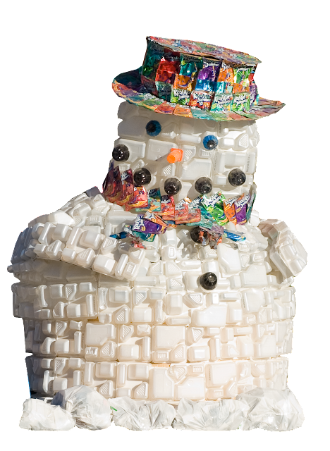 This snowman character is made with recycled packaging by school children.