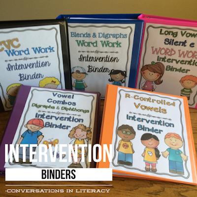Word Work Phonics Intervention Binders