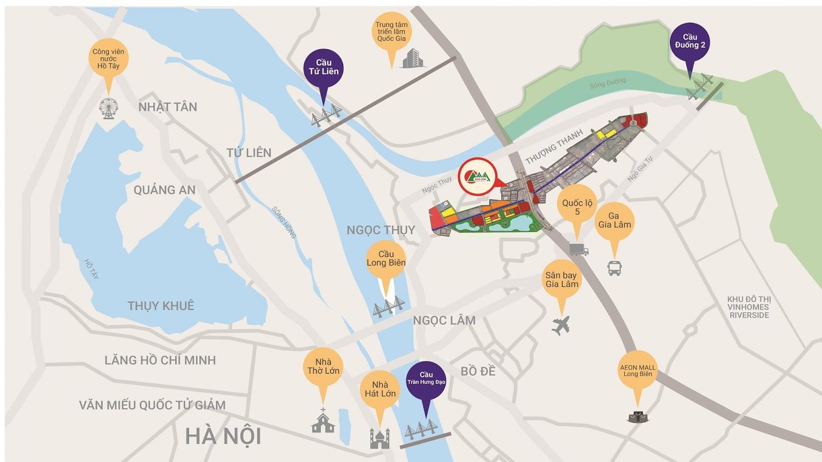 Liên kết vị trí của dự án Khai Sơn City