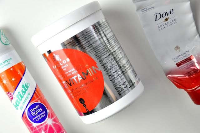 batiste neon lights suchy szampon, odżywka do włosów kallos multivitamin, szampon dove advanced hair series regenerate nourishment