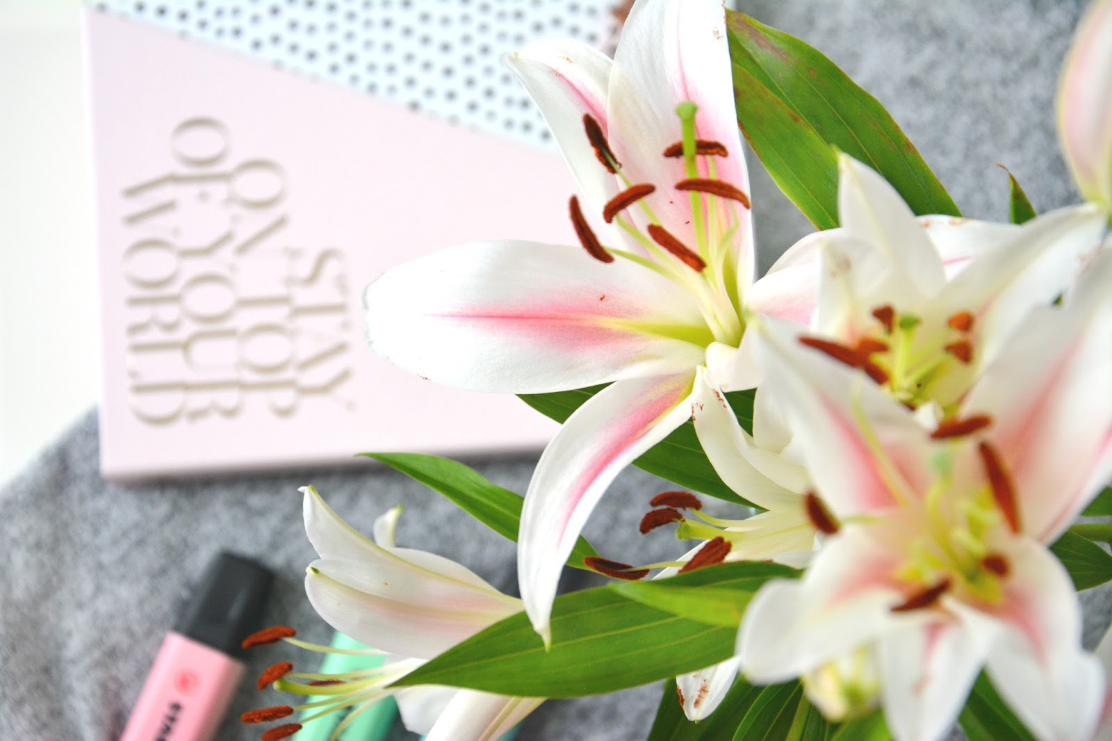 Zoella Stationary Book; Stabilo Pastel Highlighters; Fresh Lilies
