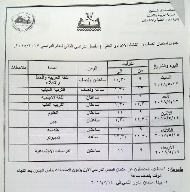 جدول الشهادة الاعدادية الجديد 2018 كفر الشيخ