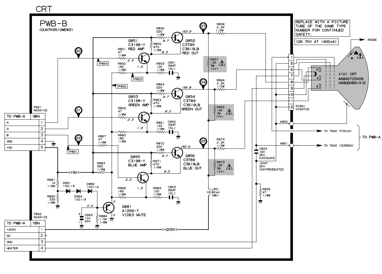 sharp 27us100  27us60  u2013 how to enter the service mode  adjustments  full circuit diagram