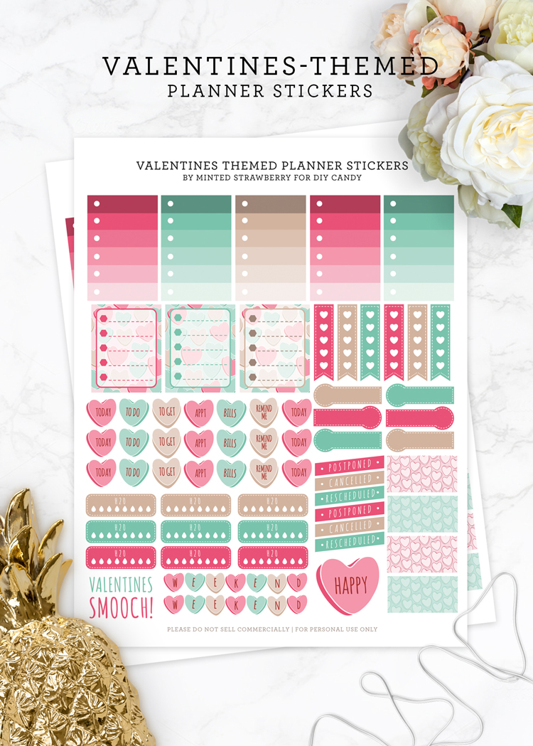 free printable valentines planner stickers