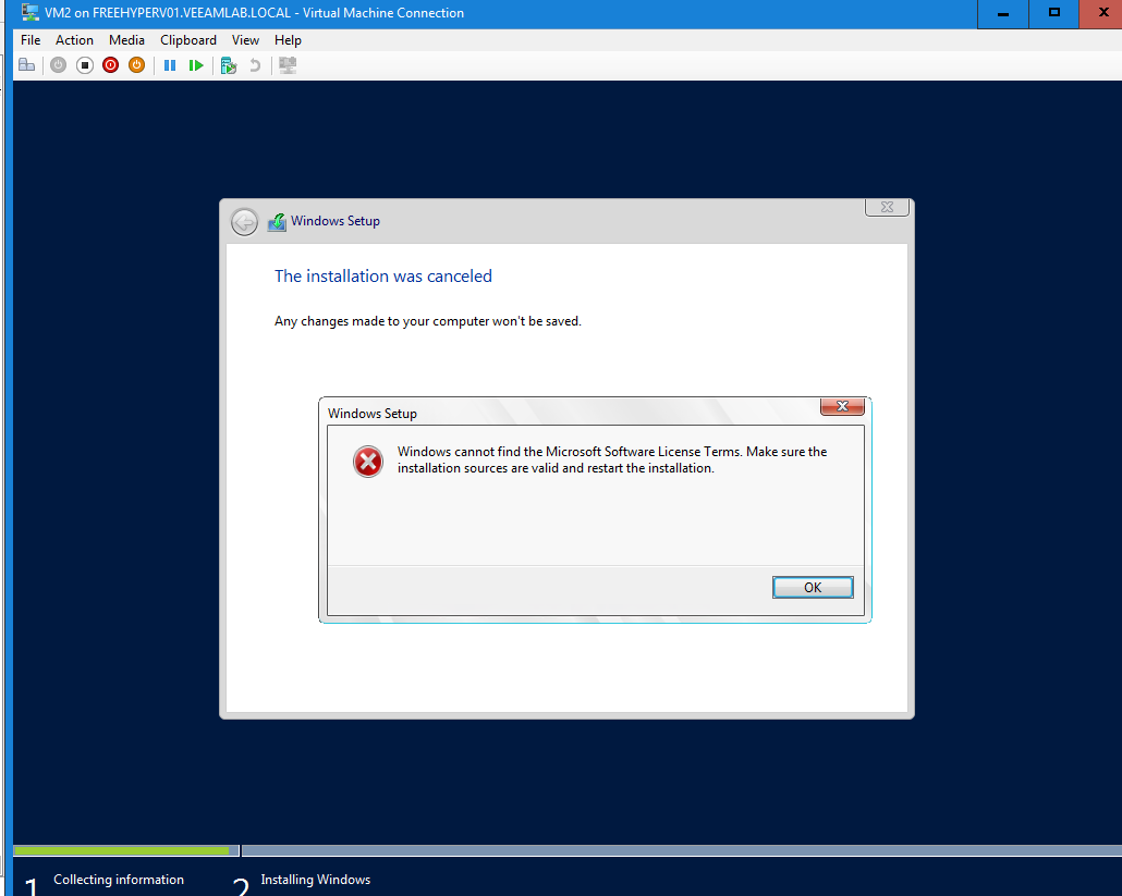 HYPER-V,SYSTEM CENTER AND AZURE: Error : Windows Cannot find the