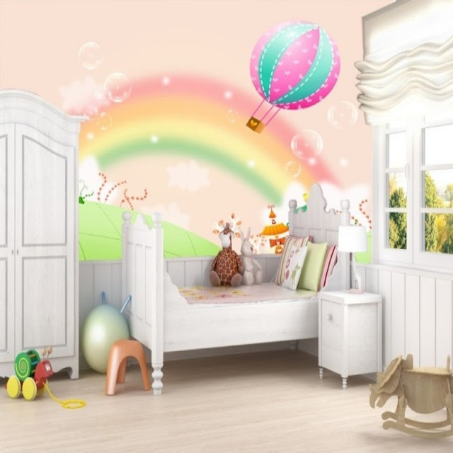 Rainbow wall mural The mural on the wall wallpaper rainbow murals for walls photo mural cartoon rainbow balloon girls room baby