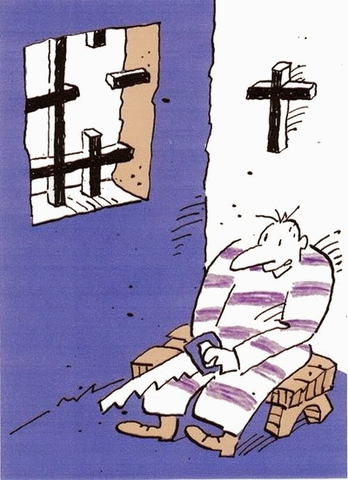 Funny Christian Freedom Prison Bars Cross Cartoon