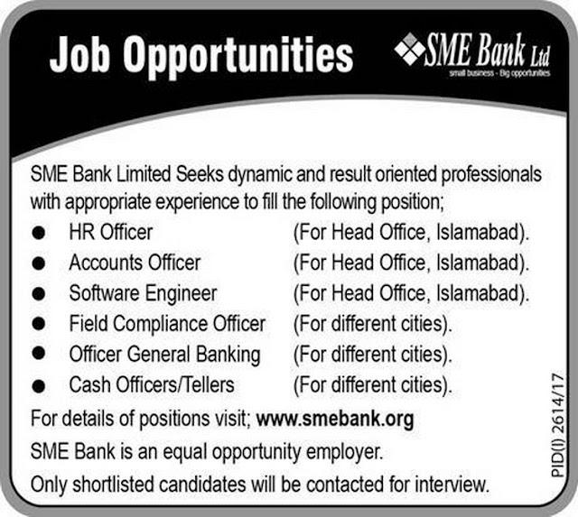 Jobs in Pakistan SME Bank Jobs 2017