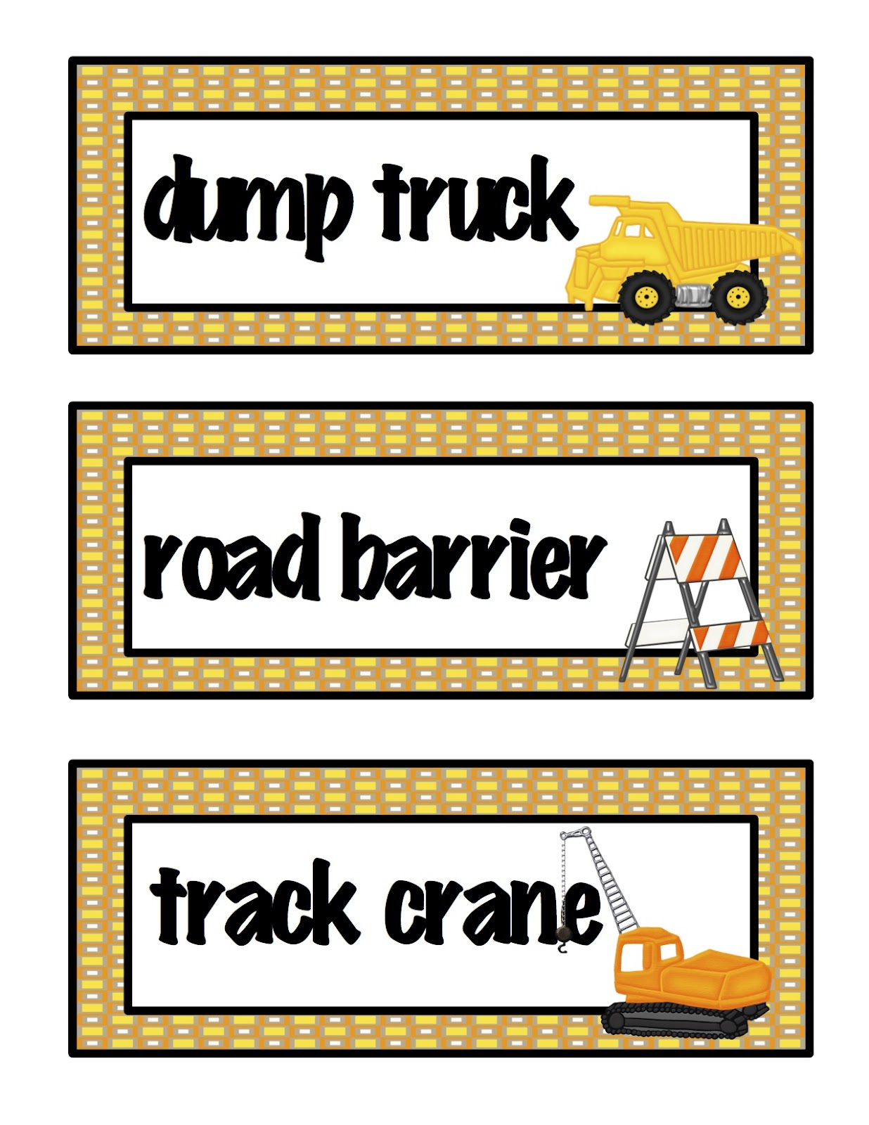 Construction Machines Large Cards Preschool Printables